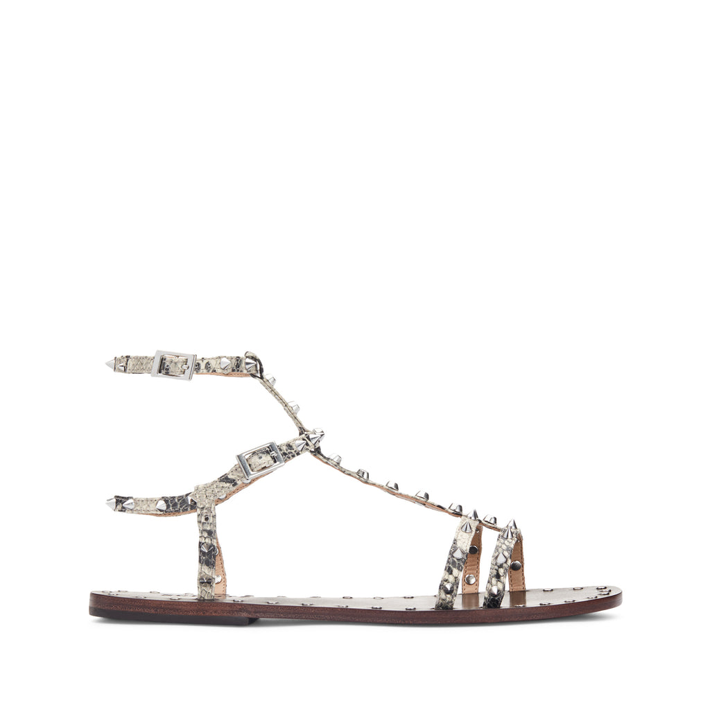 Hernan Flat Sandal in Natural Snake