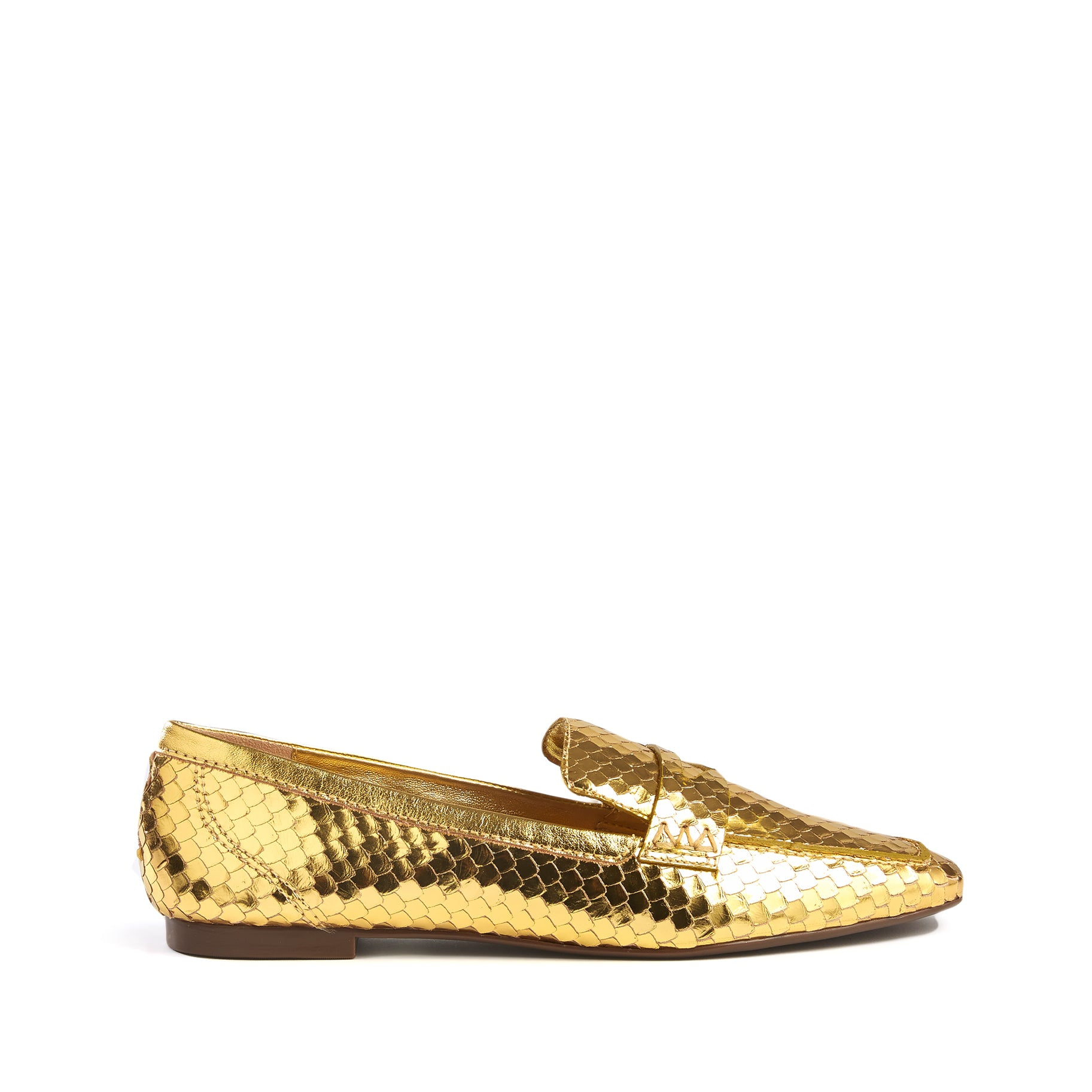 Ladonna Flats Gold Snake Embossed Leather