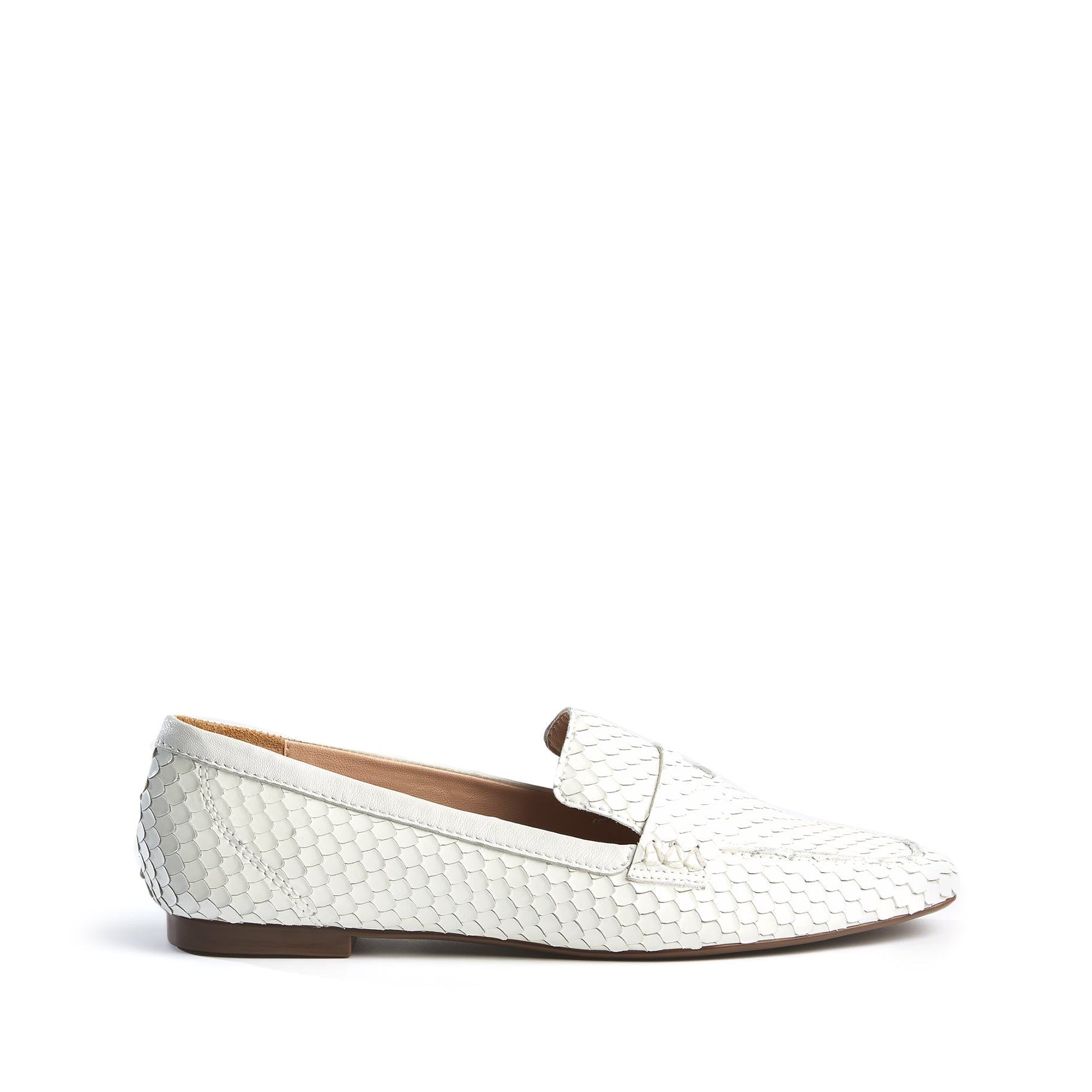Ladonna Flats White Snake Embossed Leather