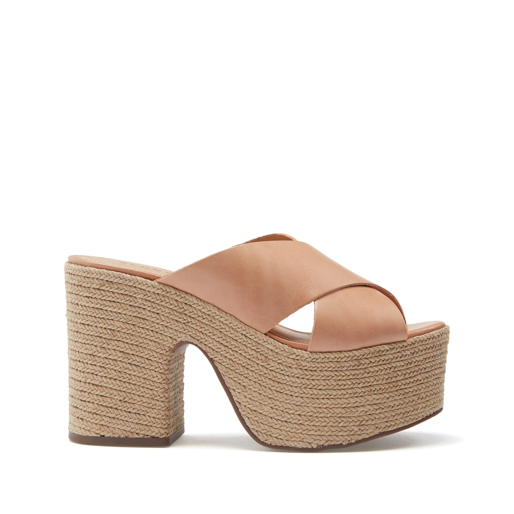 Lora Wedge Slide in Honey Beige