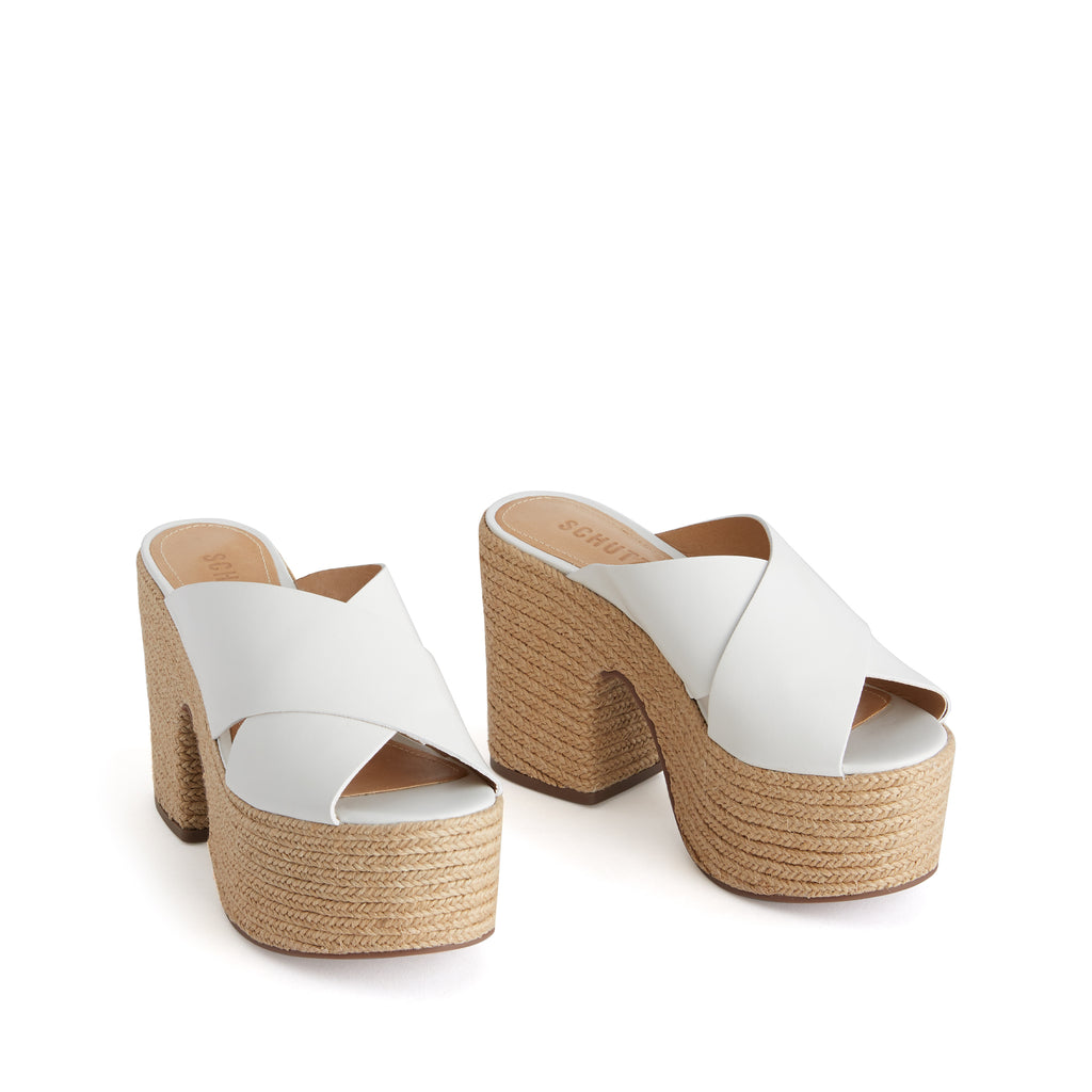 Lora Wedge Slide in White