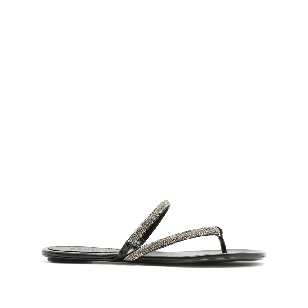 Marileide Flat Sandal in Black