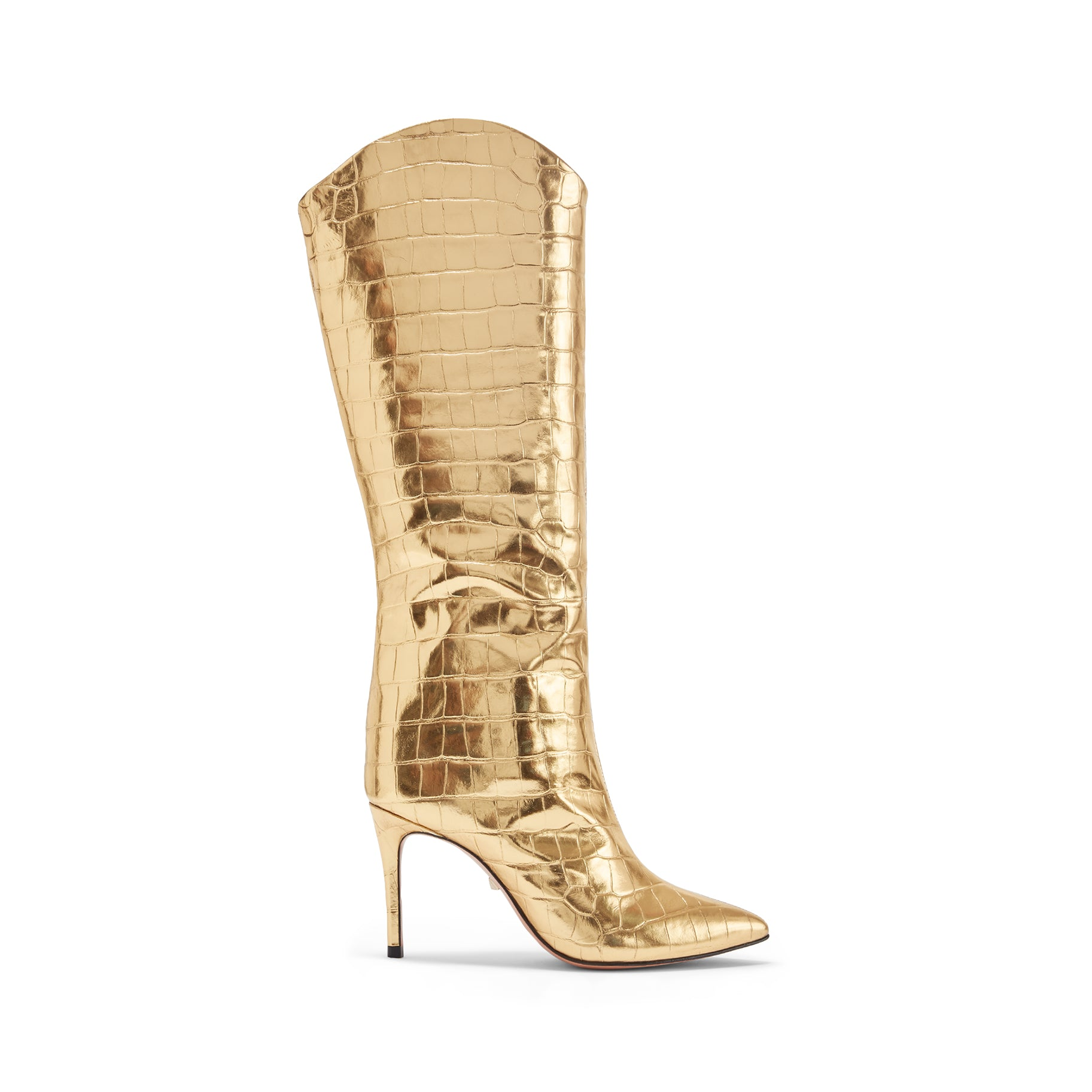 Maryana Boots Ouro Gold Crocodile Embossed Leather