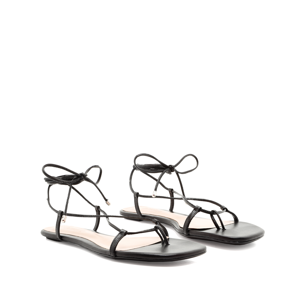 Maya Flat Sandal in Black