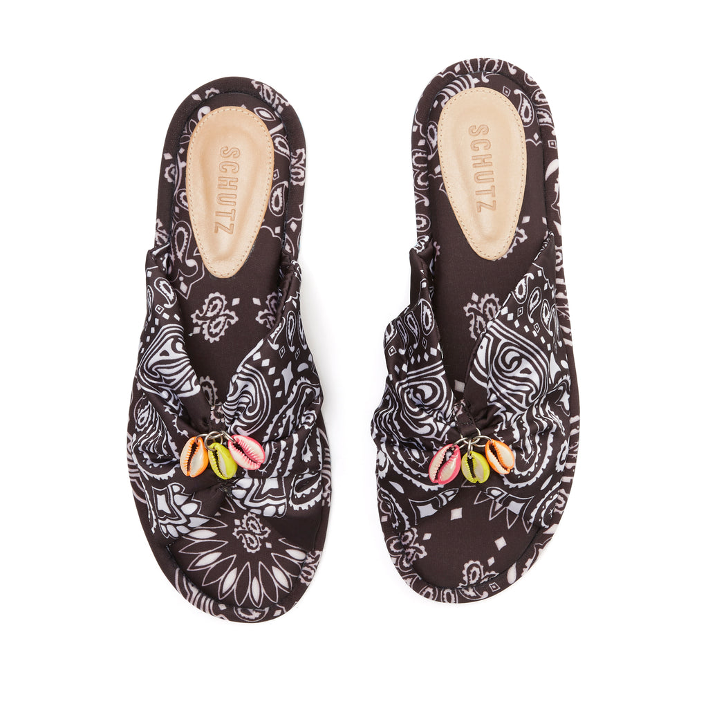 Mily Flat Slide in Black Bandanna Multi