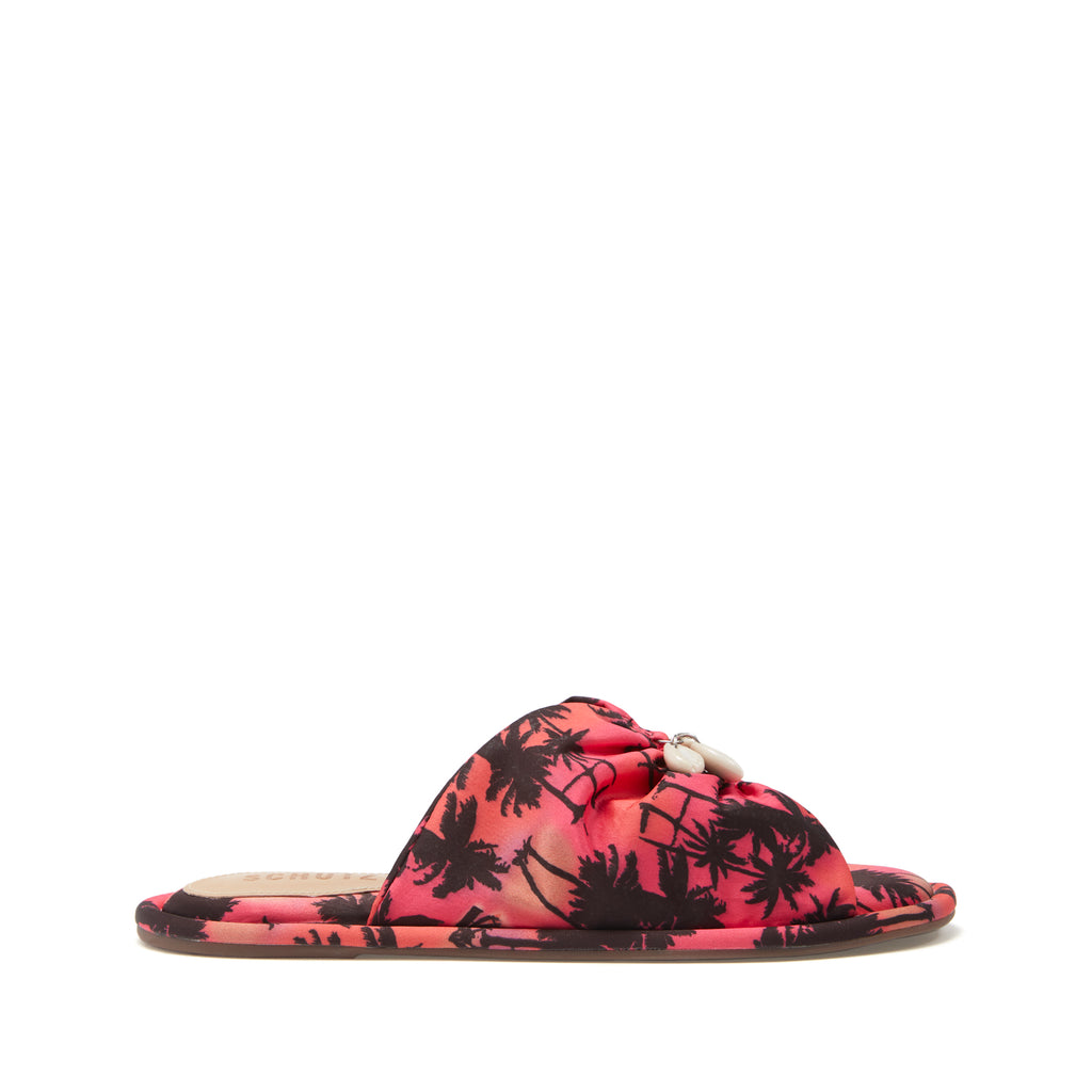 Mily Flat Slide in Pink Palm Tree Multi