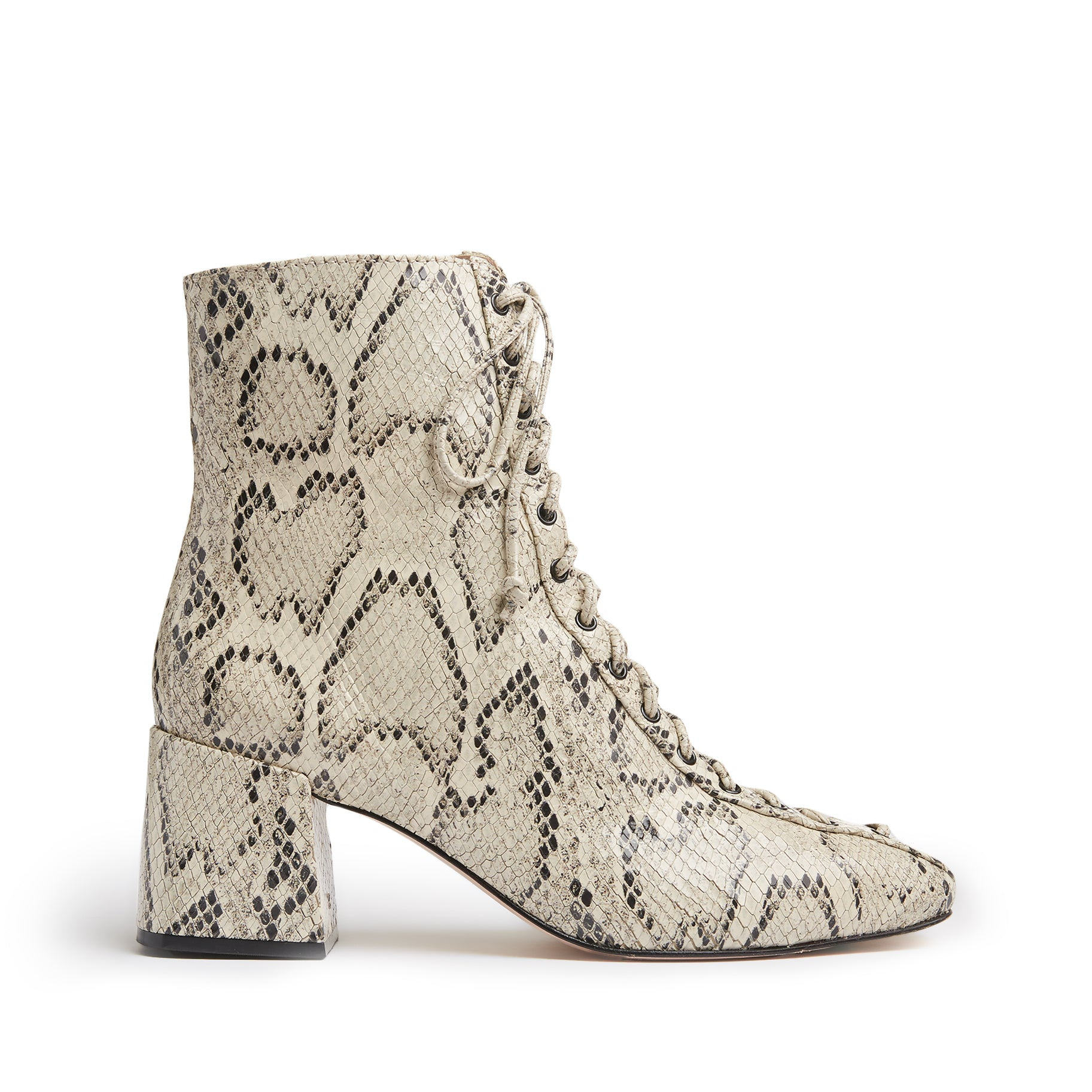 New Kika Booties Natural Snake Snake Embossed Leather