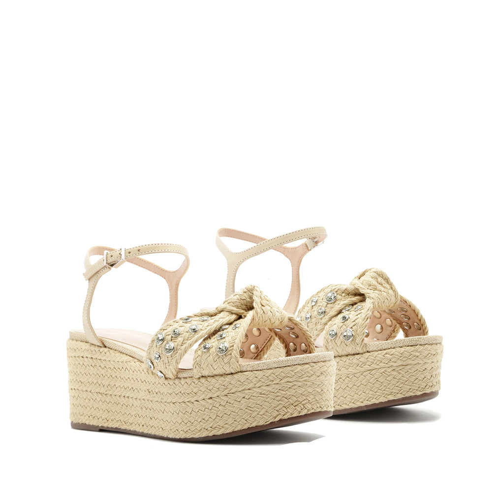 Roanda Wedge Sandal in Natural Fabric
