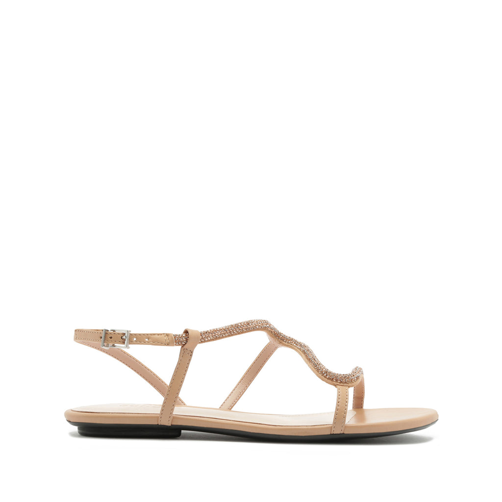 Georgia Lee Flat Sandal in Honey Beige