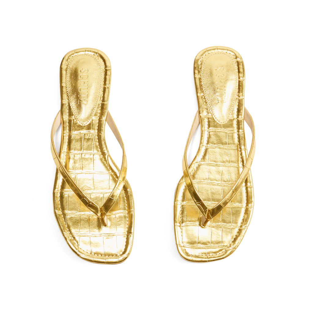 Tesla Flat Sandal in Ouro Gold