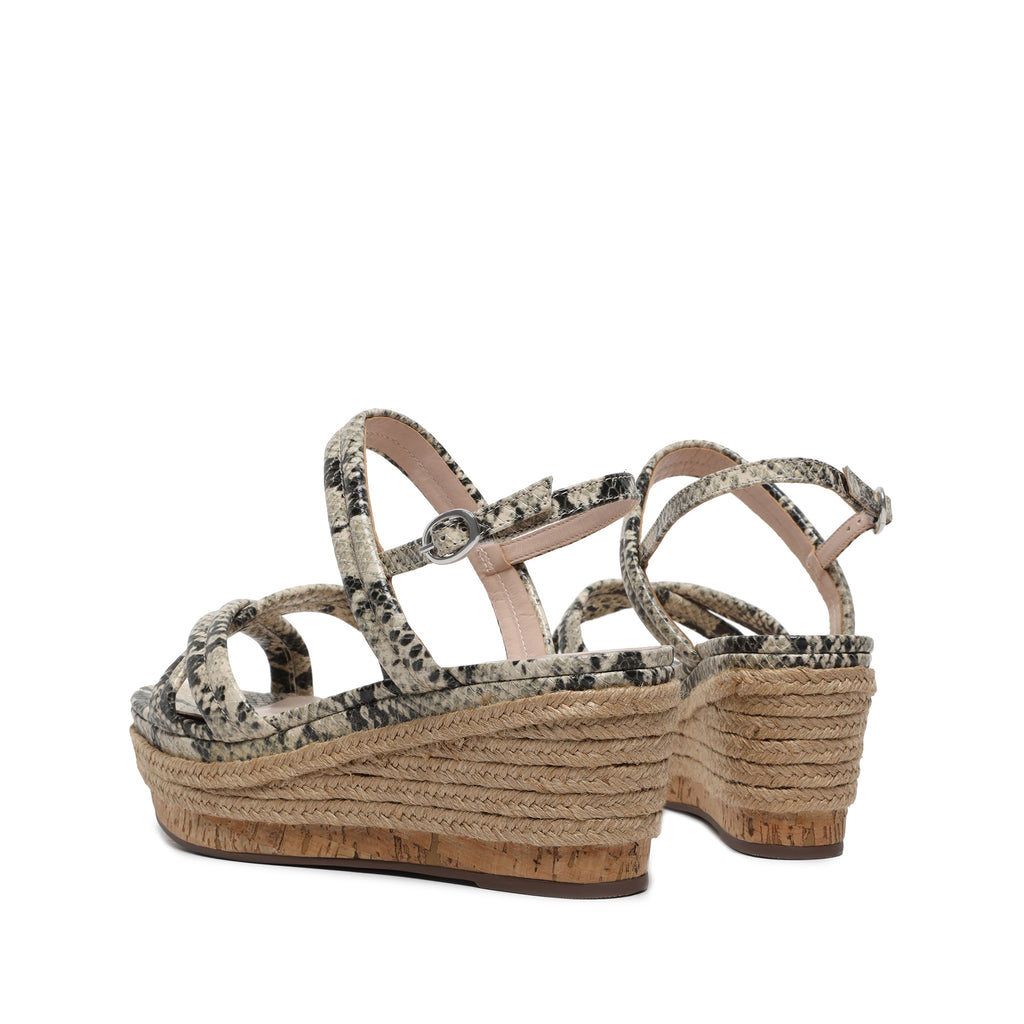 Isla Wedge Sandal in Natural Snake