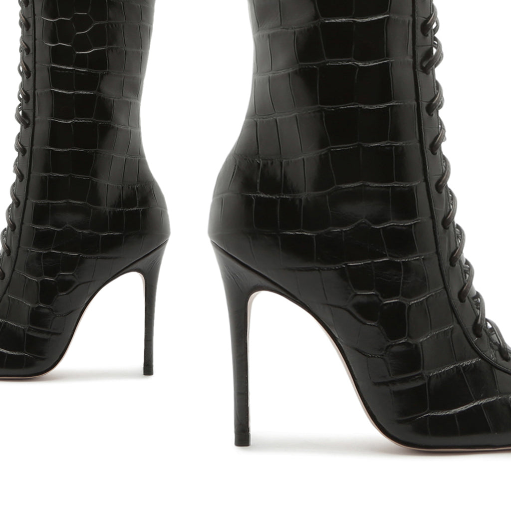Meredith Crocodile-Embossed Leather Boot in Black