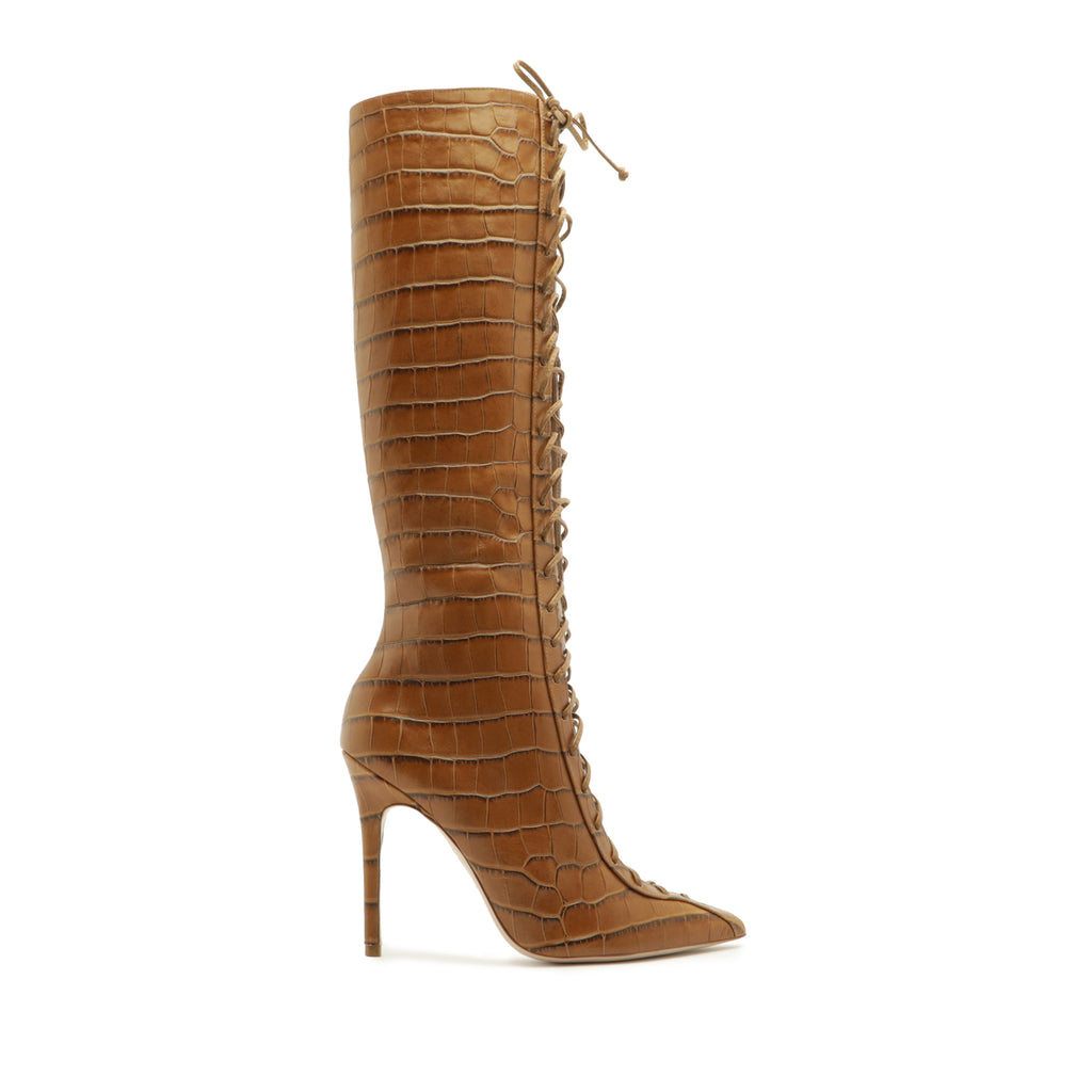 Meredith Crocodile-Embossed Leather Boot in Bear