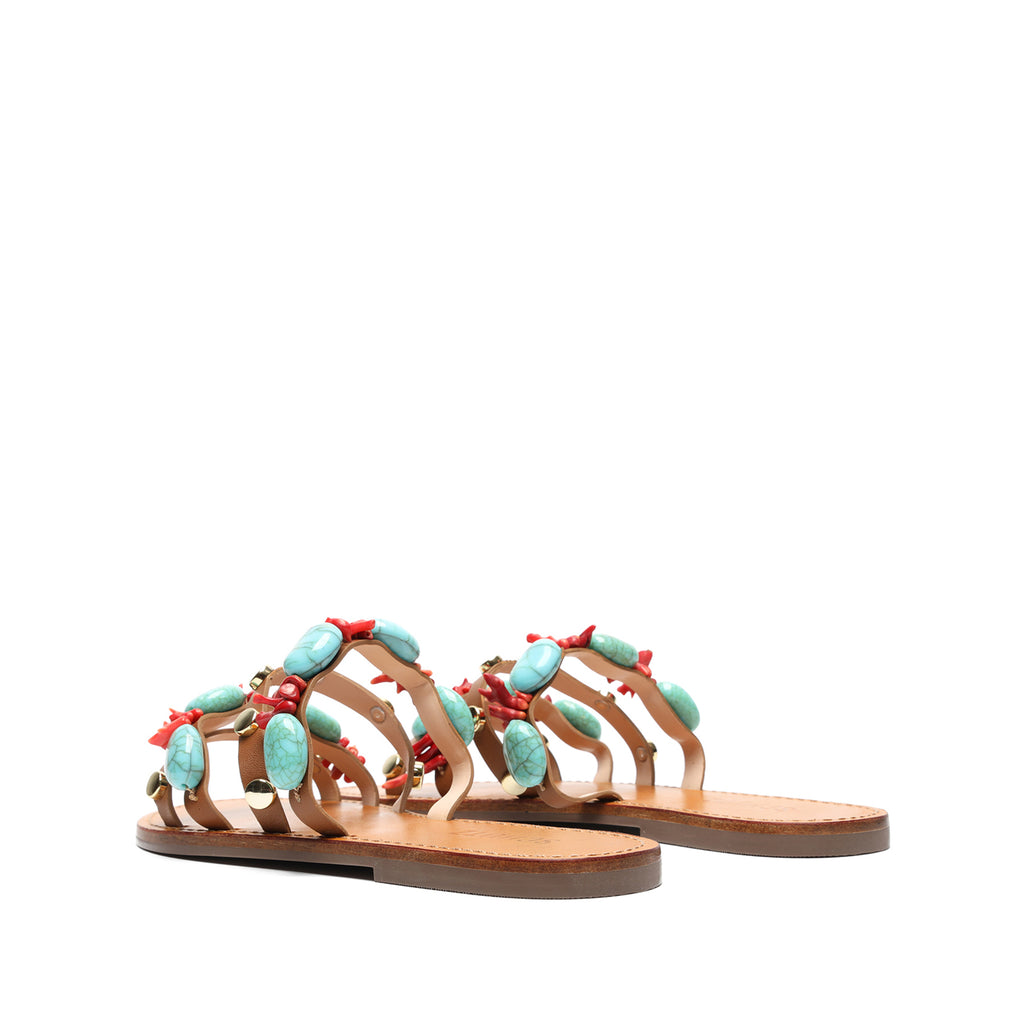 Yvonne Embellished Leather Sandal in Brown