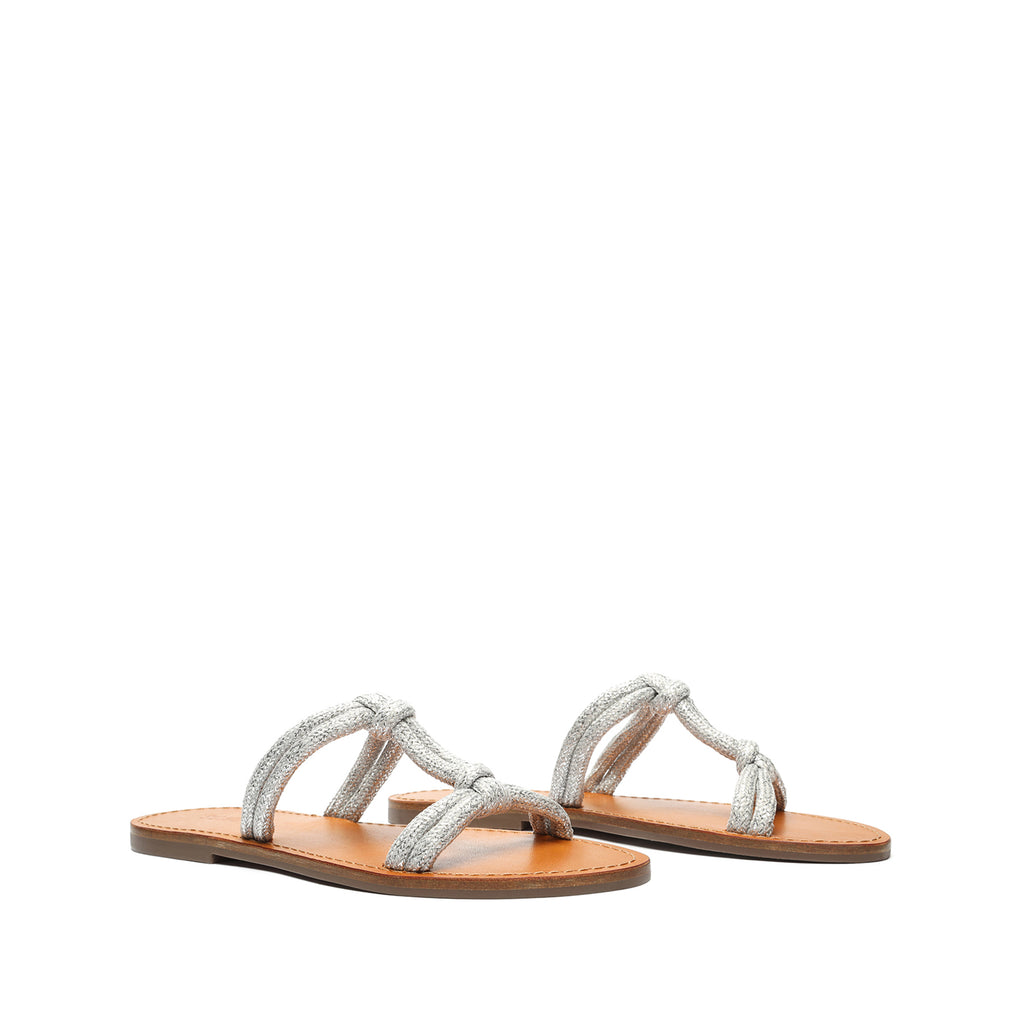 Berta Leather Sandal in Silver