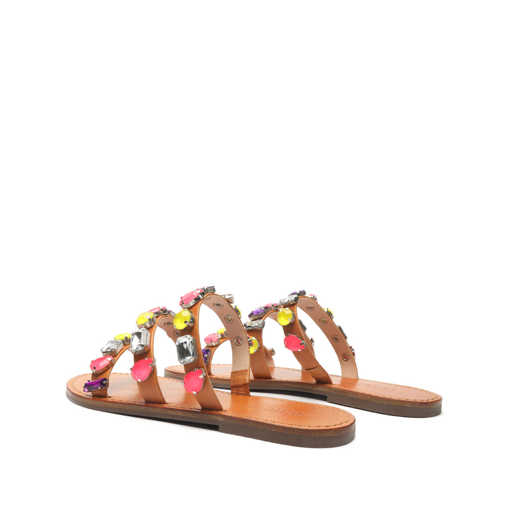 Brandy Embellished Leather Sandal in Brown