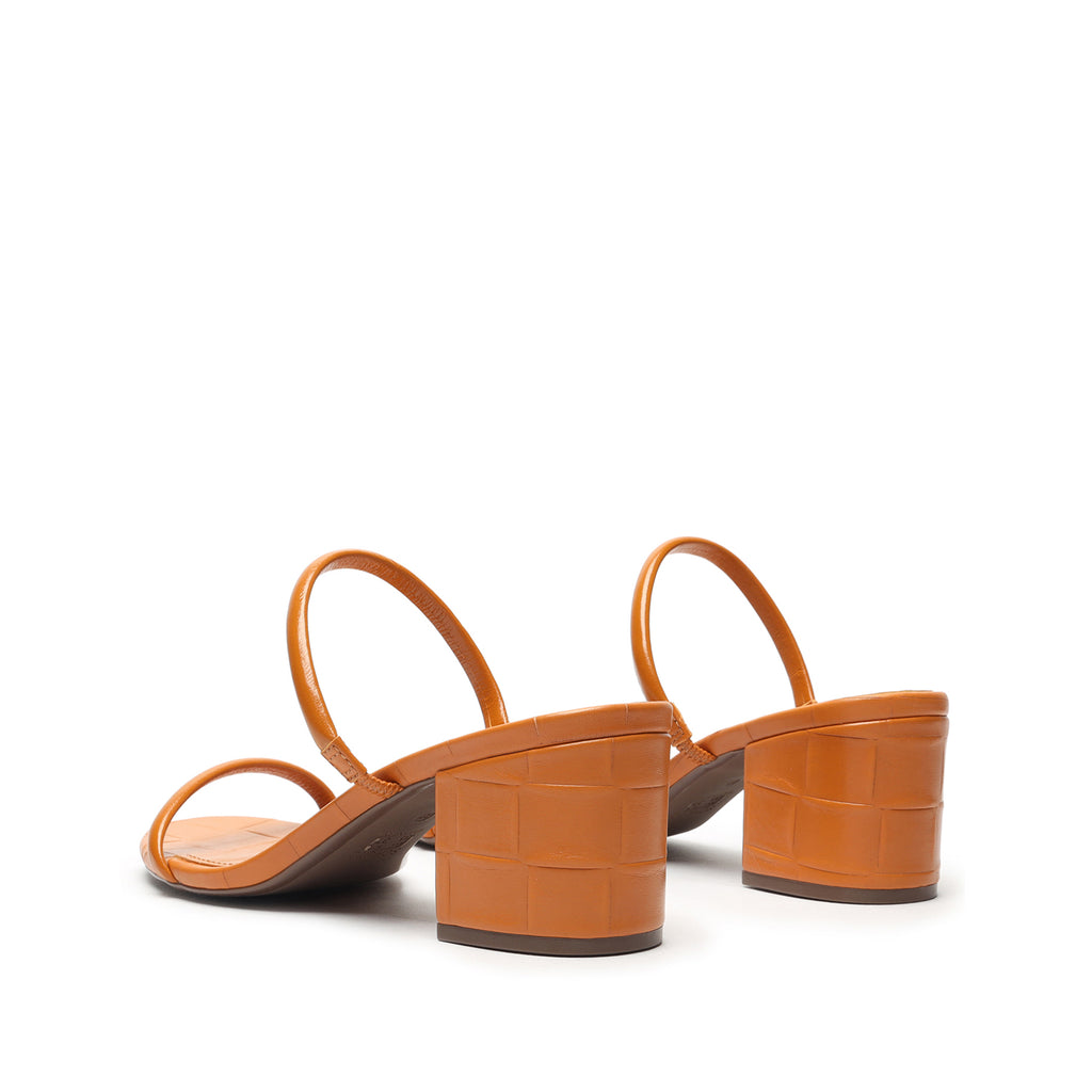 Ray Leather Mule in Orange