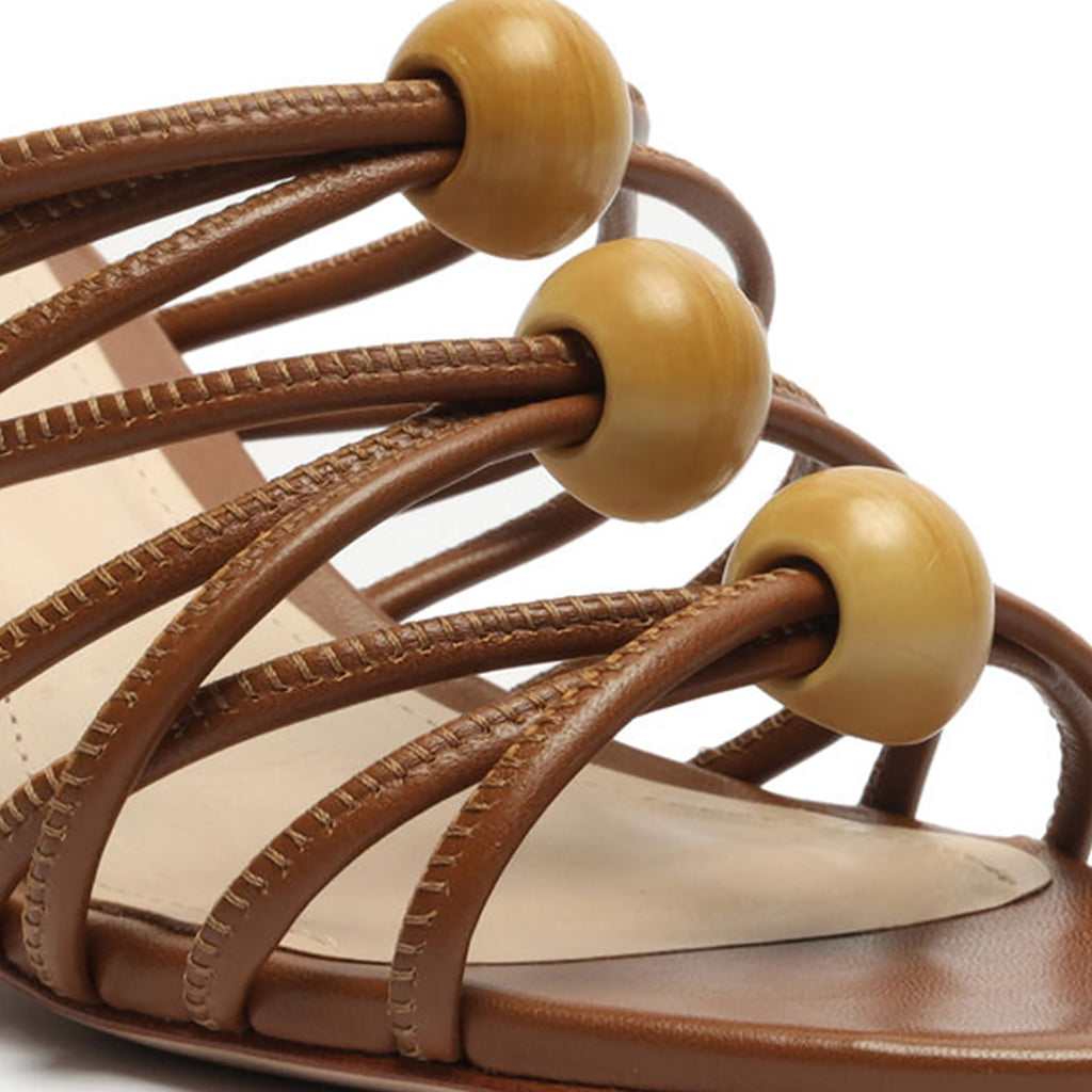 Roanna Leather Sandal in Wood