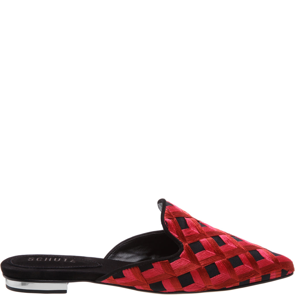 Thana Flat Mule in Black Pink Multi