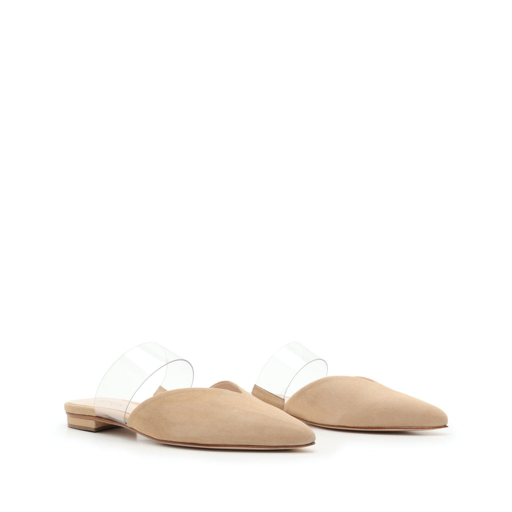 Aneli Flat Mule in Honey Beige