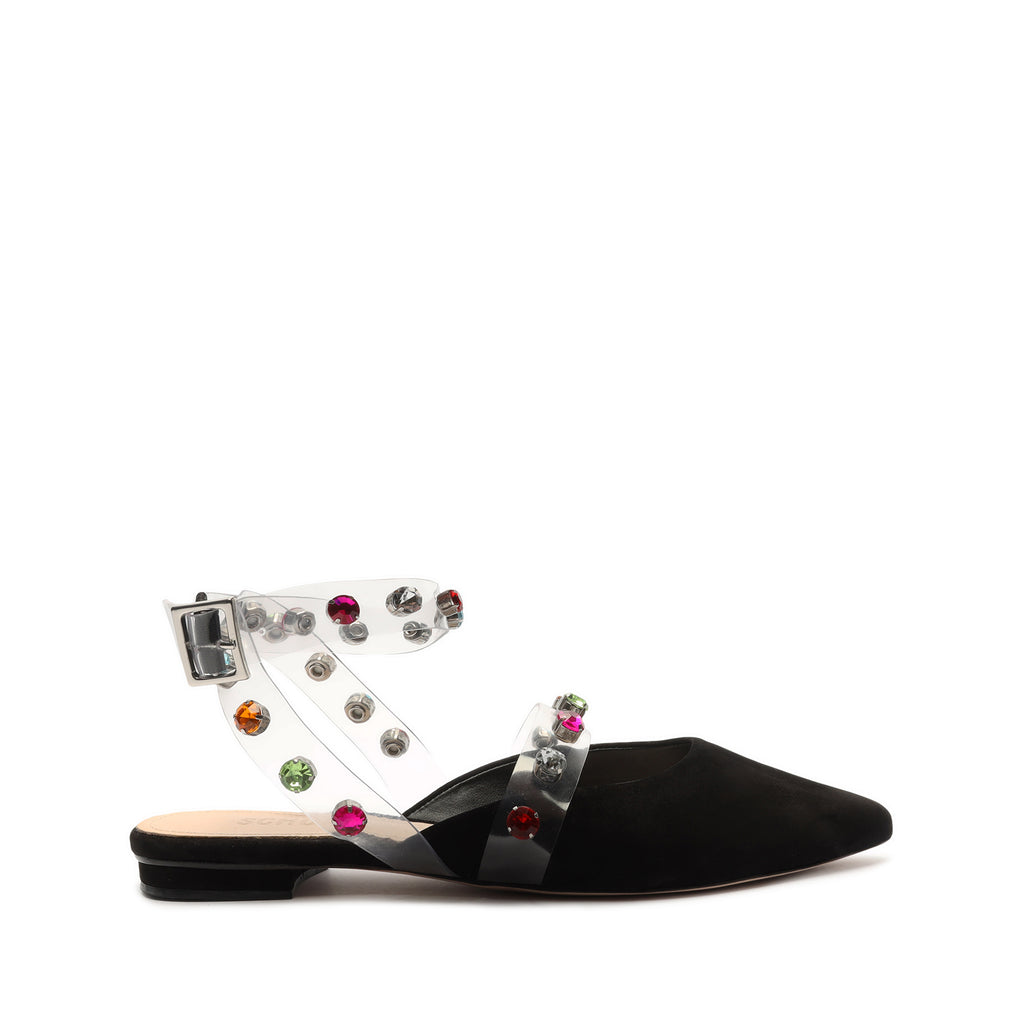 Brunie Embellished Vinyl & Leather Flat in Black