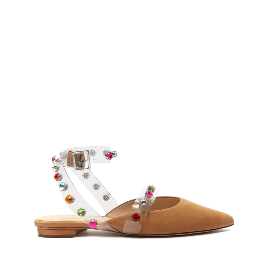 Brunie Embellished Vinyl & Leather Flat in Honey Beige