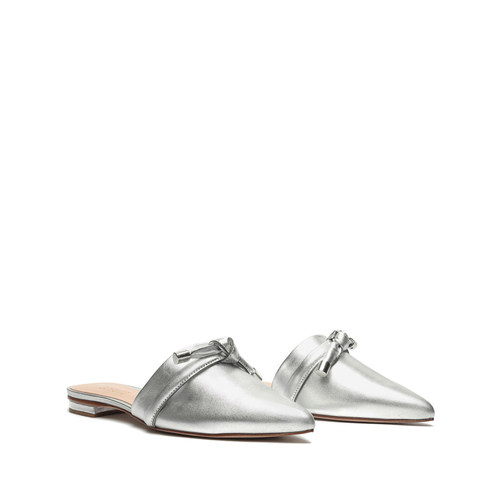 Lay Metallic Leather Mule in Silver