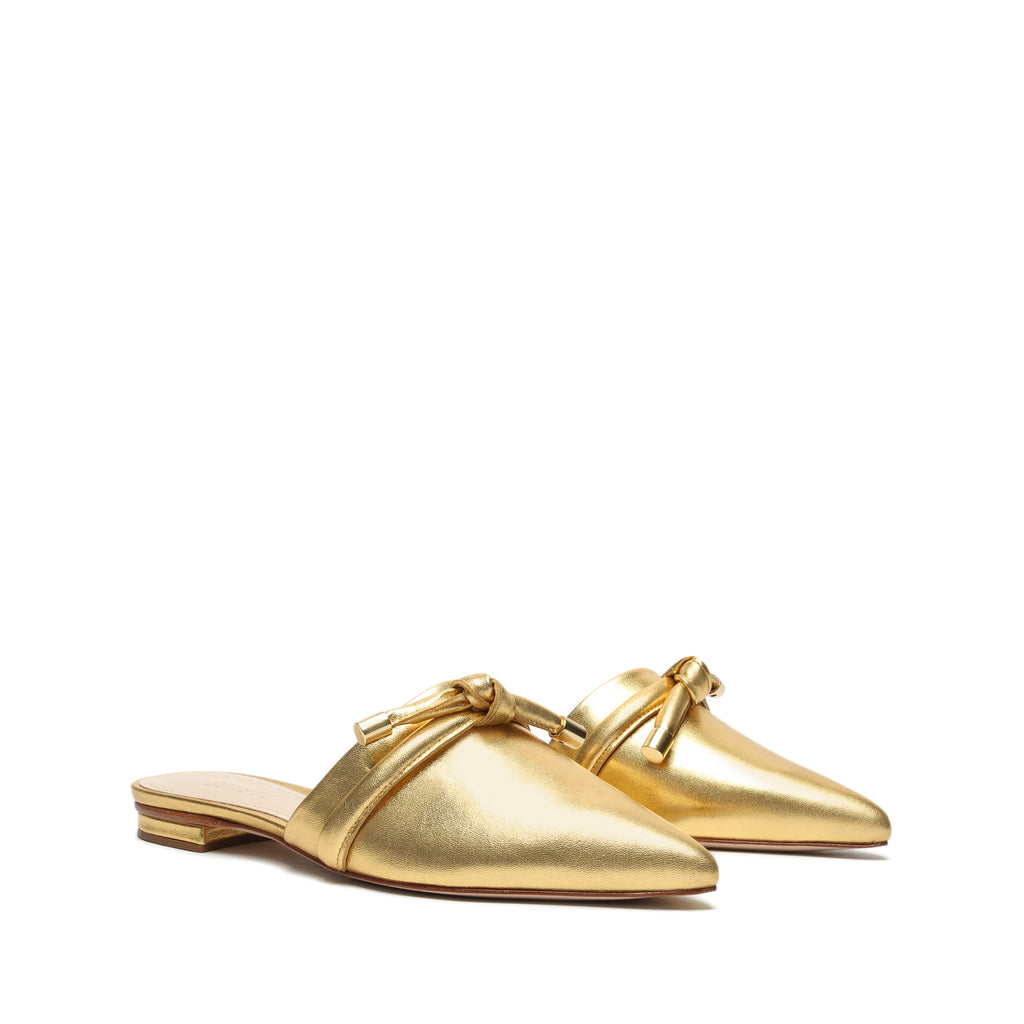 Lay Metallic Leather Mule in Gold