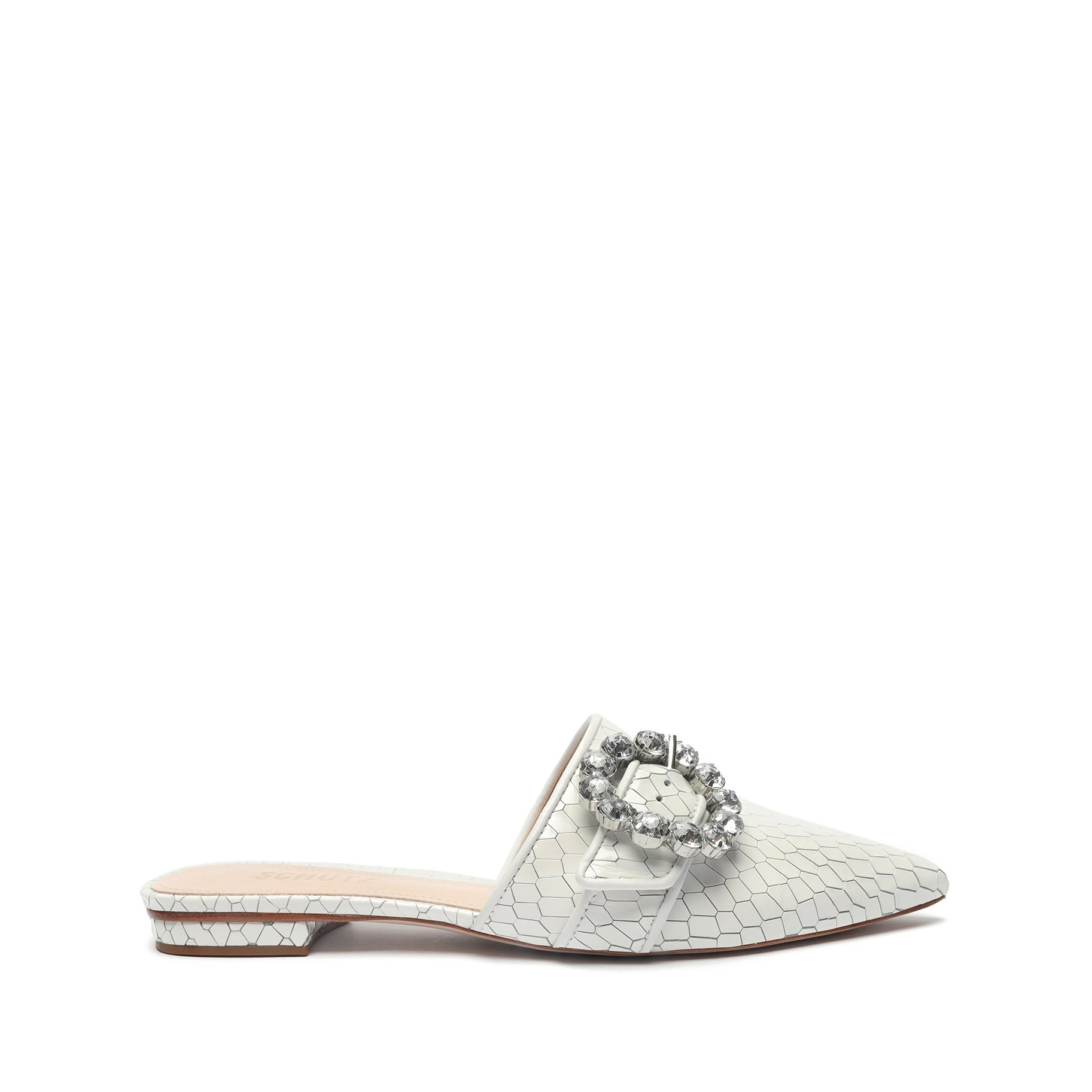Camille Embellished Embossed-Leather Mule