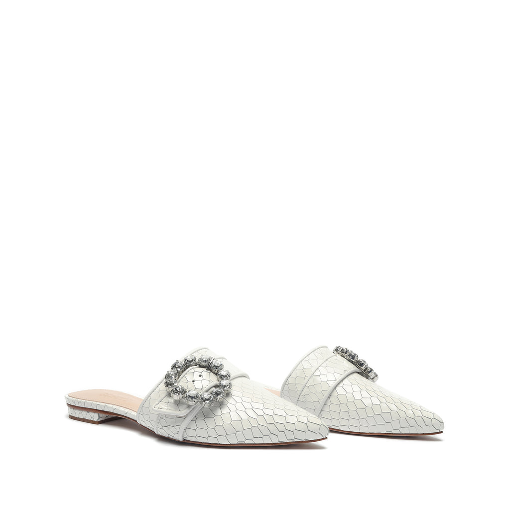 Camille Embellished Embossed-Leather Mule in White