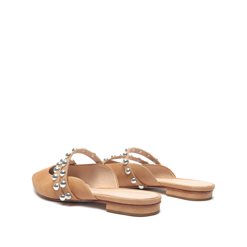 Jacklyn Leather Flat in Honey Beige