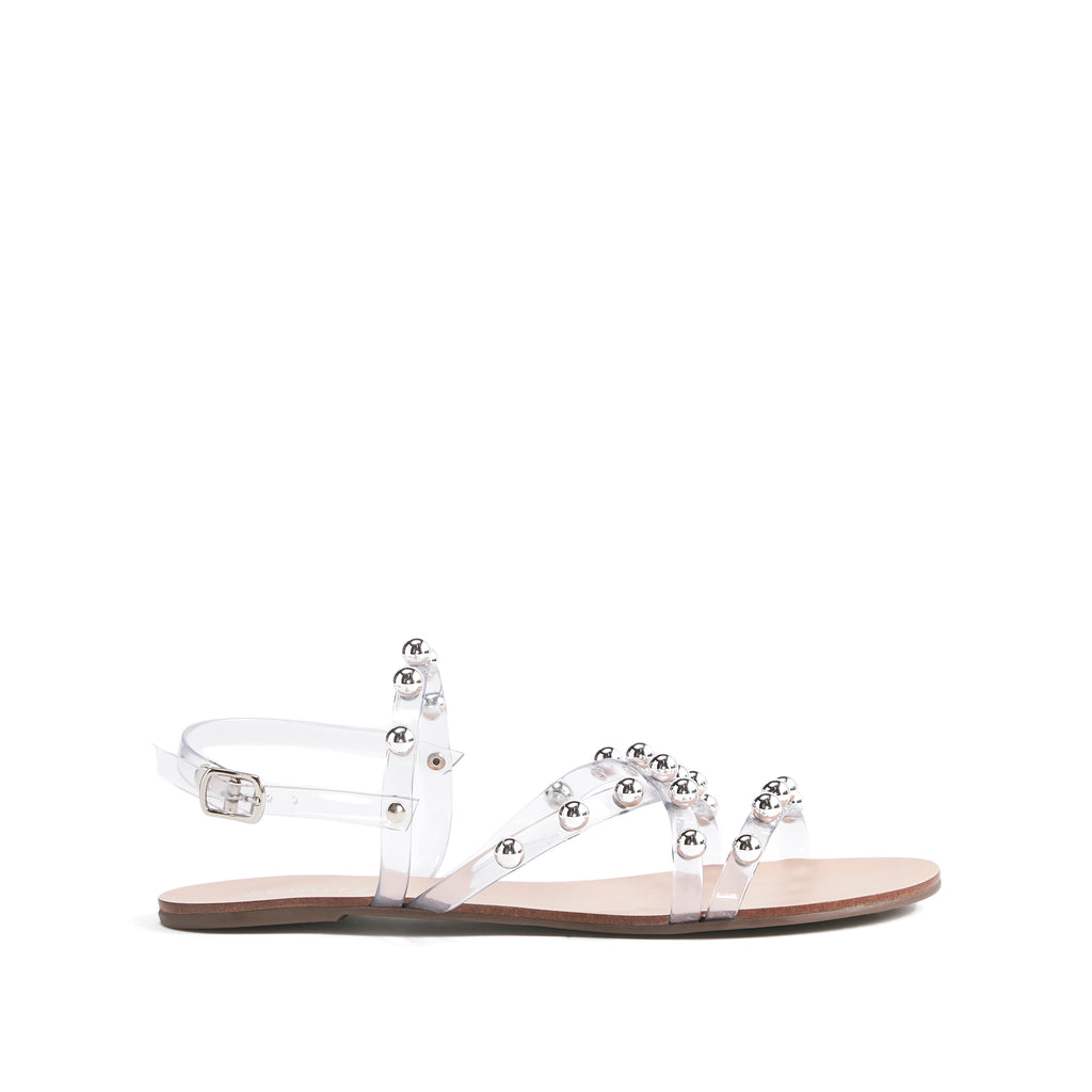 Lina Flat Sandal in Clear