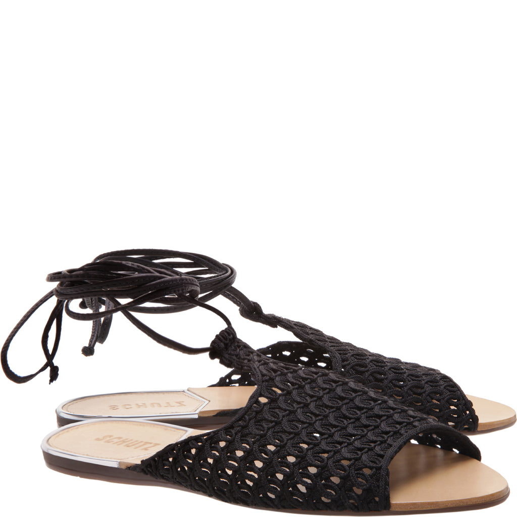 Olicia Flat Sandal in Black