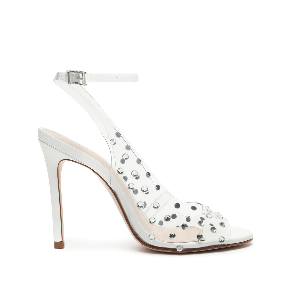 Brieela Vinyl & Leather Sandal in Transparent/White