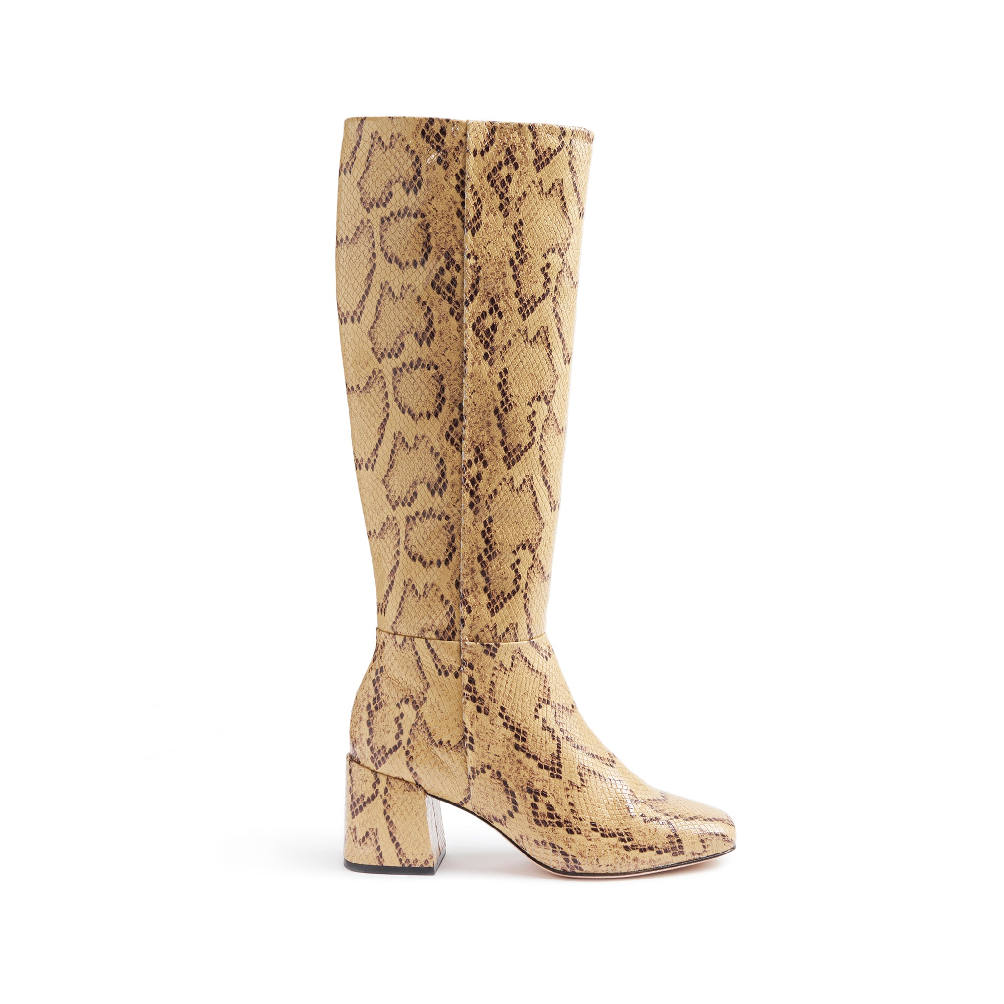 Beliana Boots Bisque Snake Snake Embossed Leather