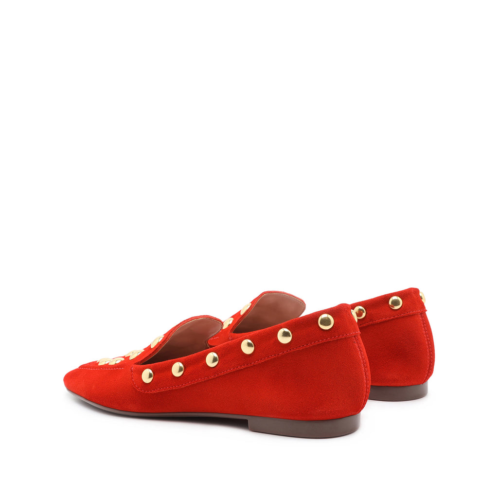 Laurie Studded Suede Loafer in Red Orange