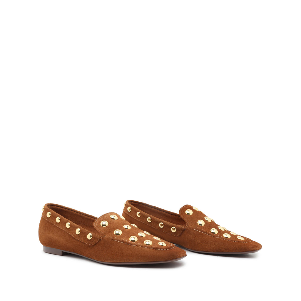 Laurie Studded Suede Loafer in Wood