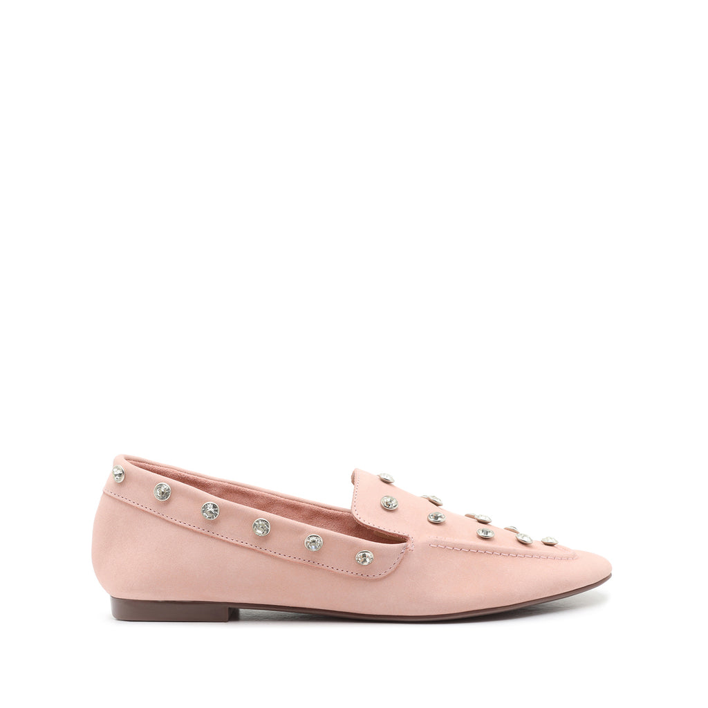 Lili Studded Suede Loafer in Sweet Rose