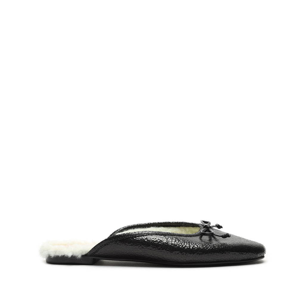 Evelin Metallic Leather & Shearling Mule in Black