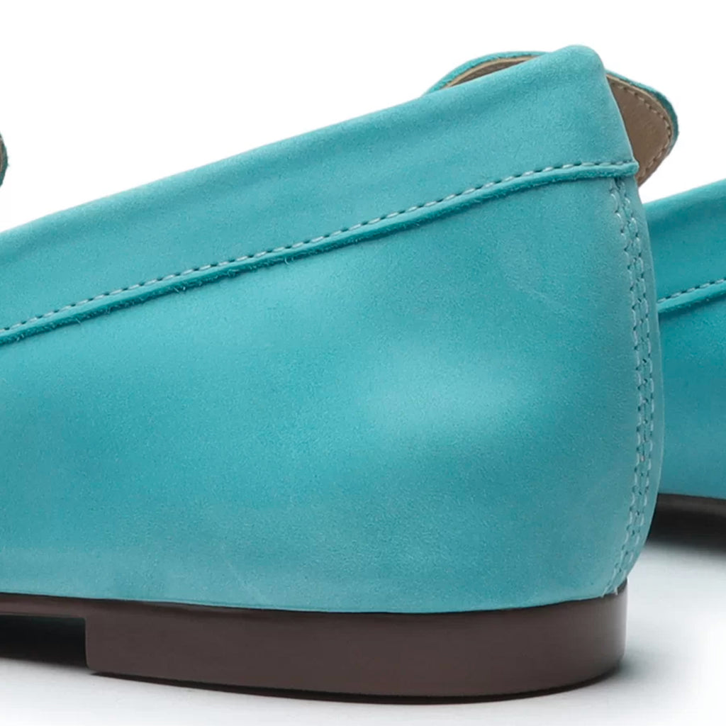 Marrie Leather Flat in River Aqua