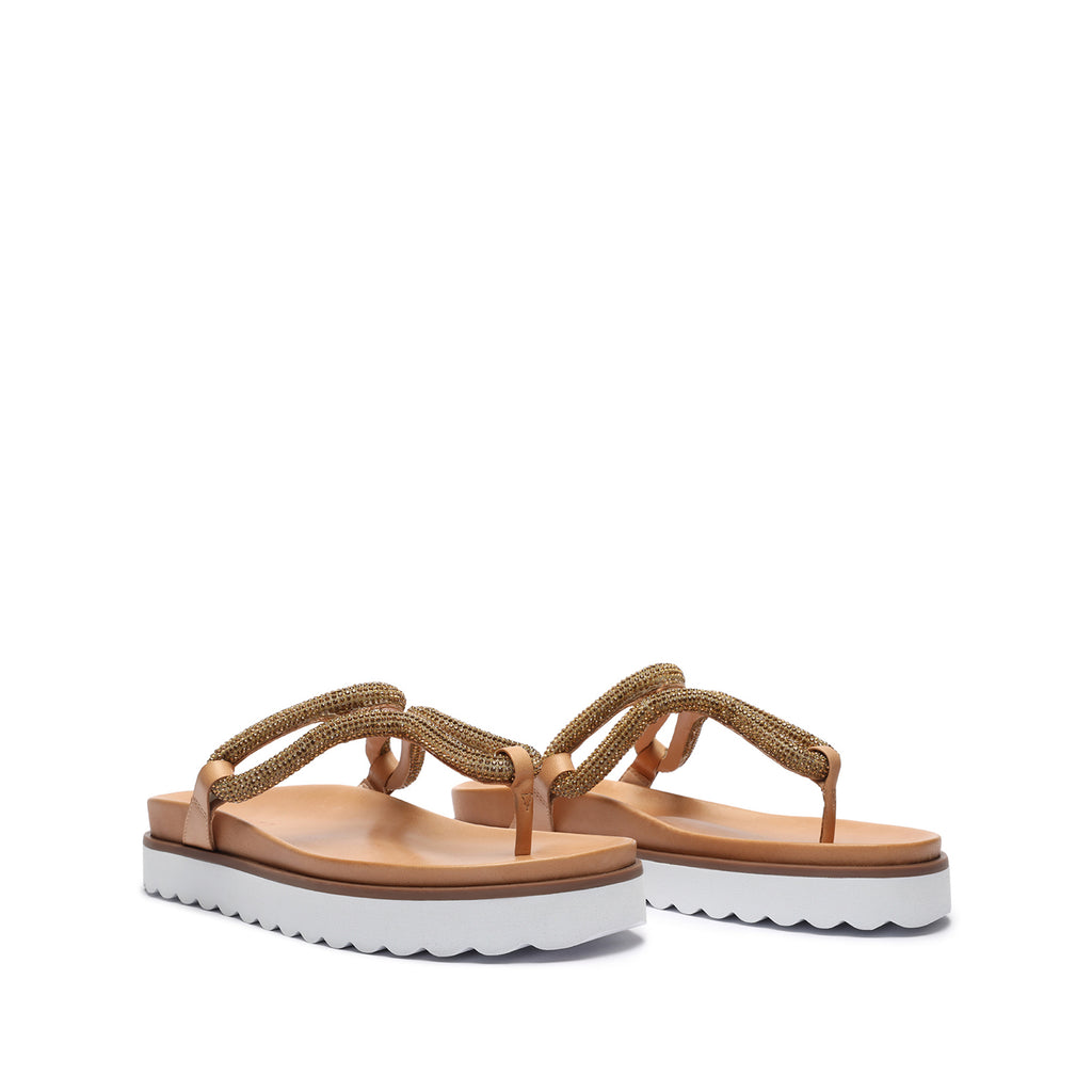 Tharika Embellished Flatform Sandal in Light Wood