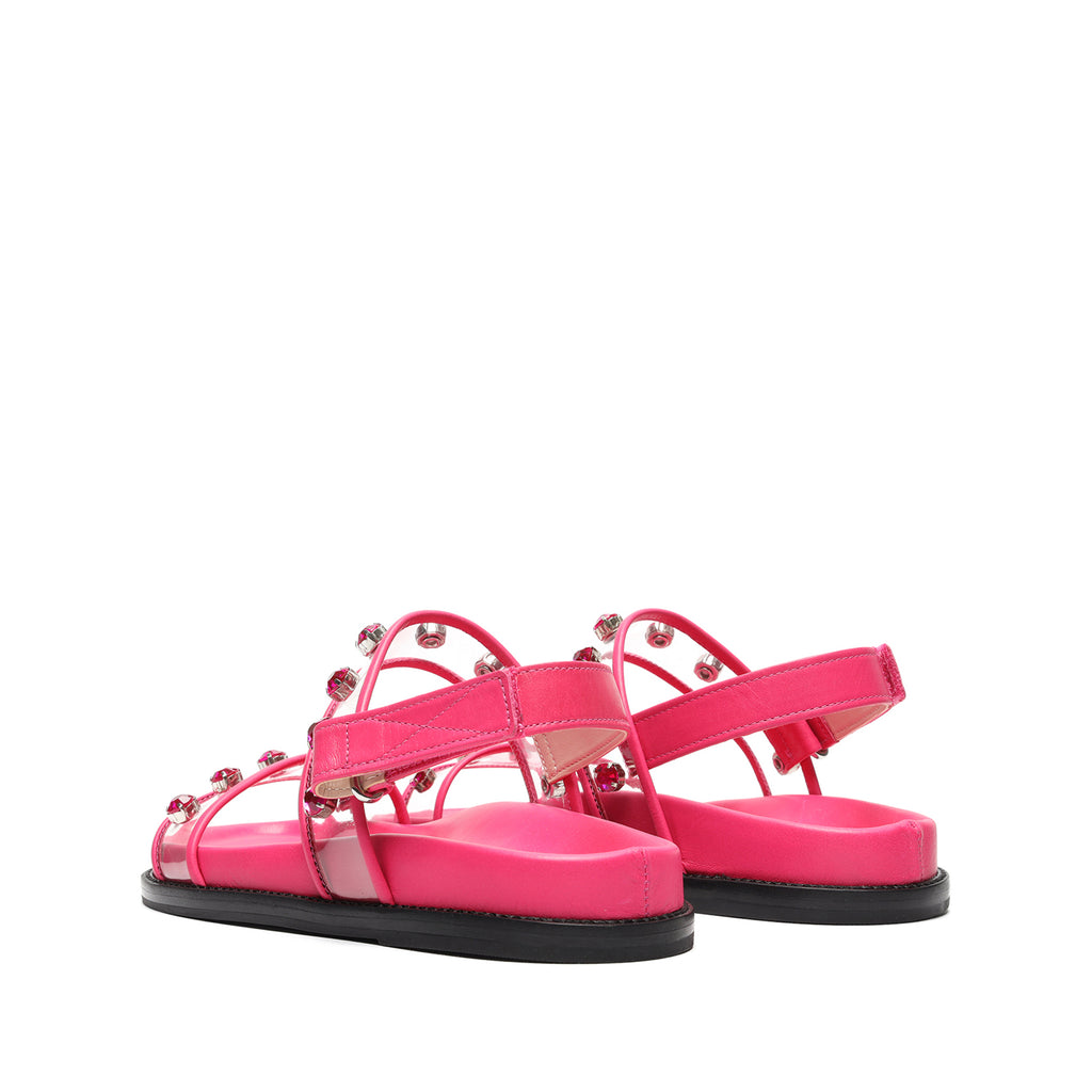 Emmanuele Vinyl & Leather Sandal in Paradise Pink