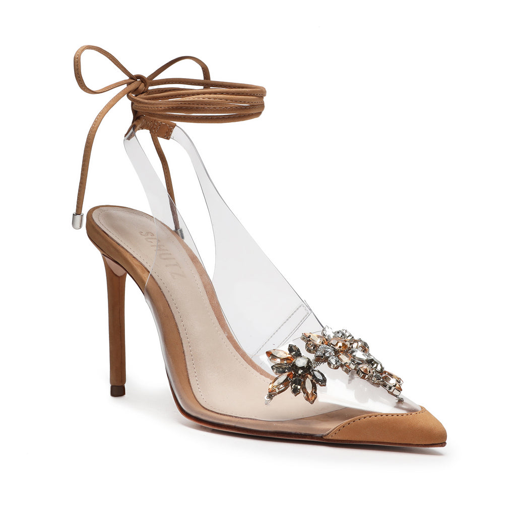 Tracie Embellished Vinyl & Leather Pump in Honey Beige