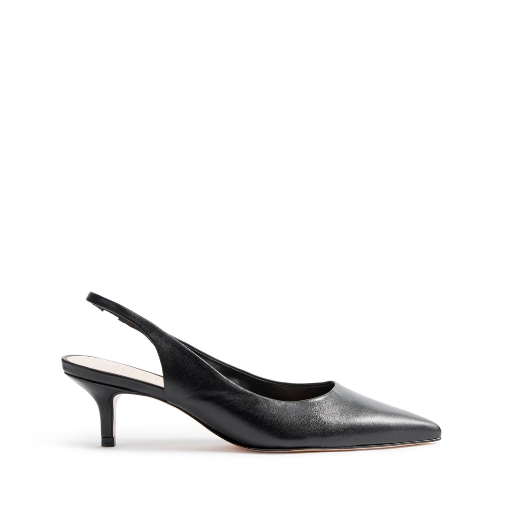 Cambrie Pointed Toe Kitten Heel Leather
