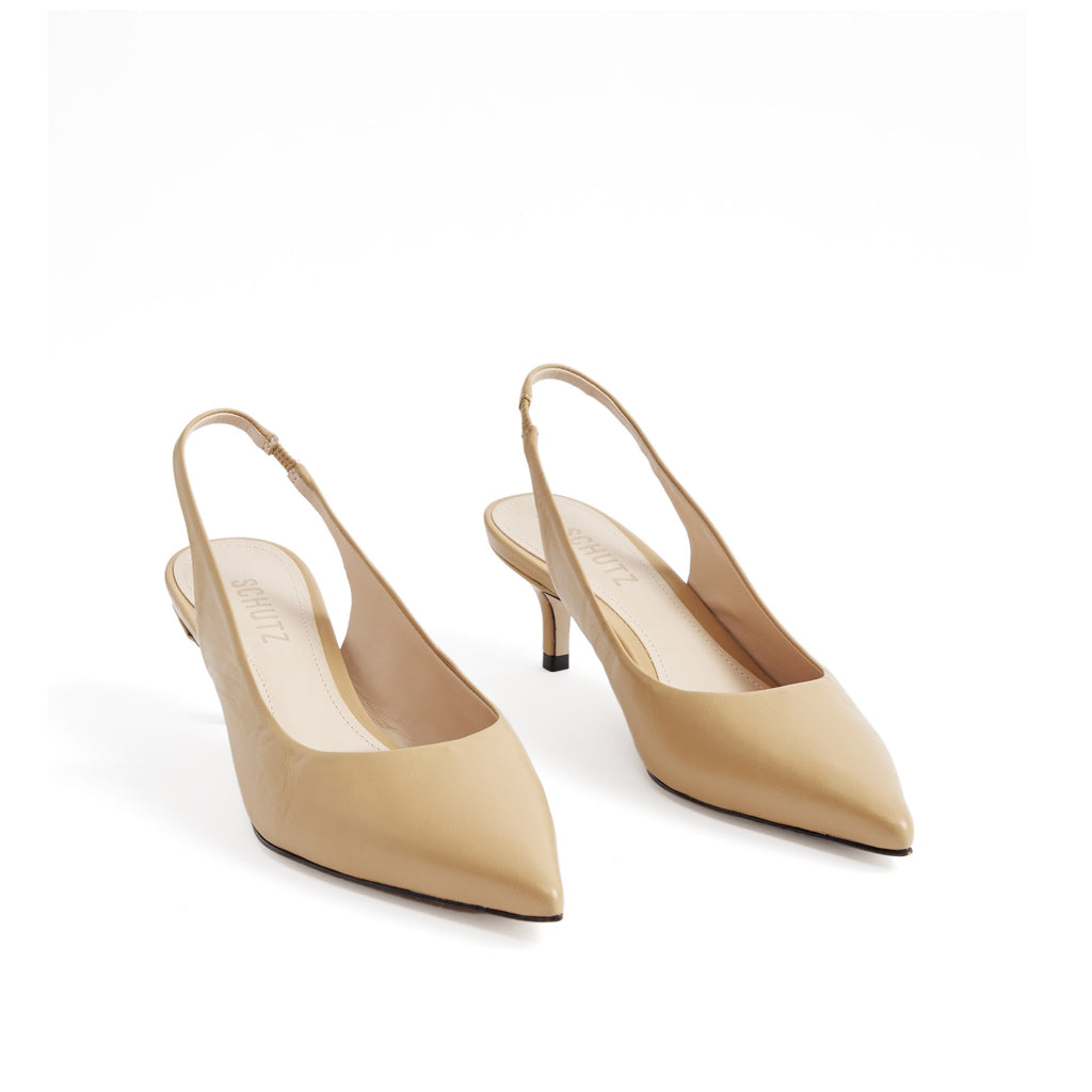 Cambrie Slingback Pump in Honey Beige