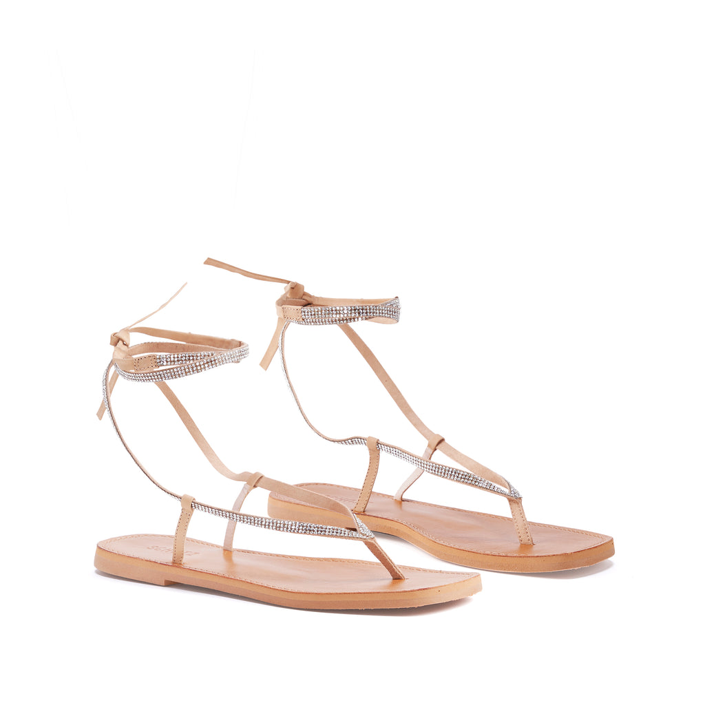 Abdula Flat Sandal in Honey Beige
