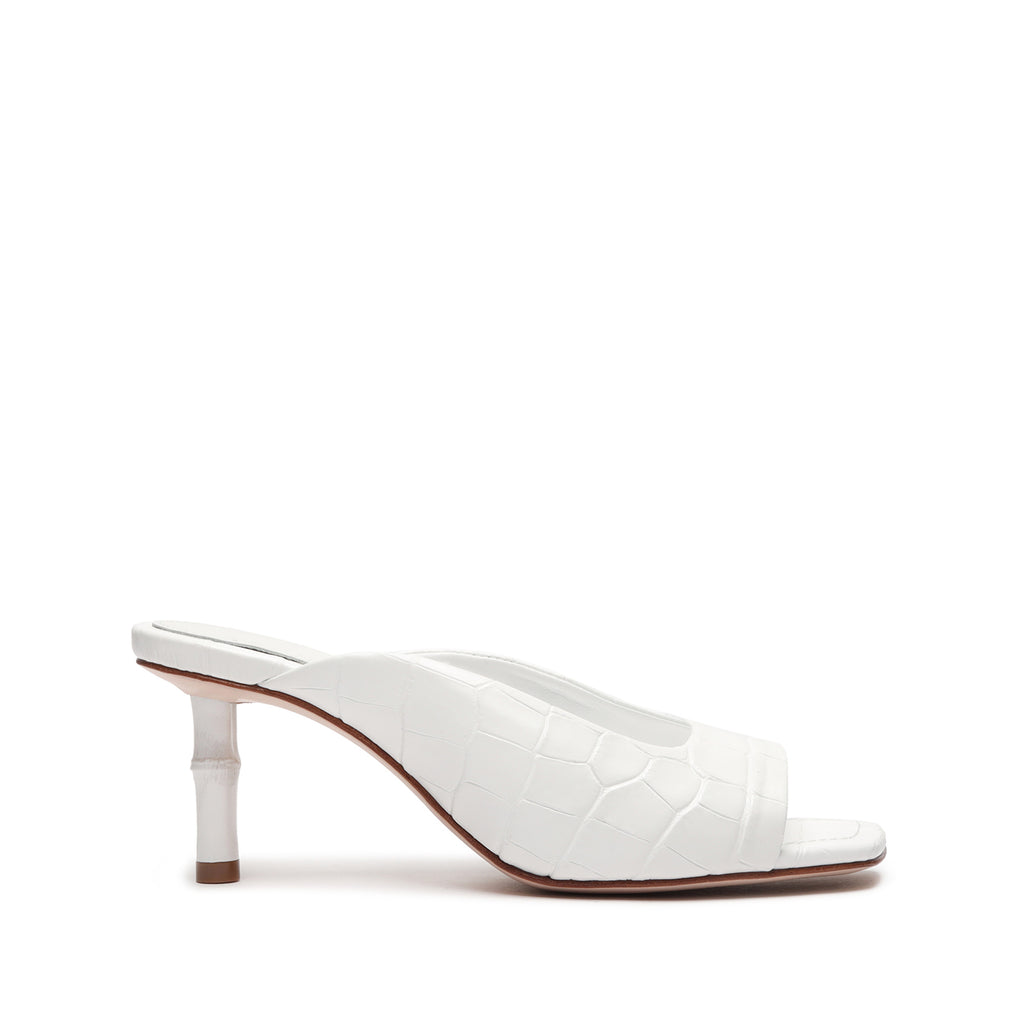 Raven Crocodile-Embossed Leather Sandal in White