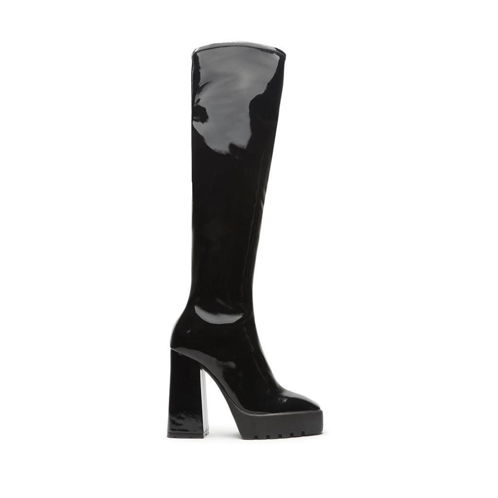 Darlyn Stretch Patent Leather Boot in Black
