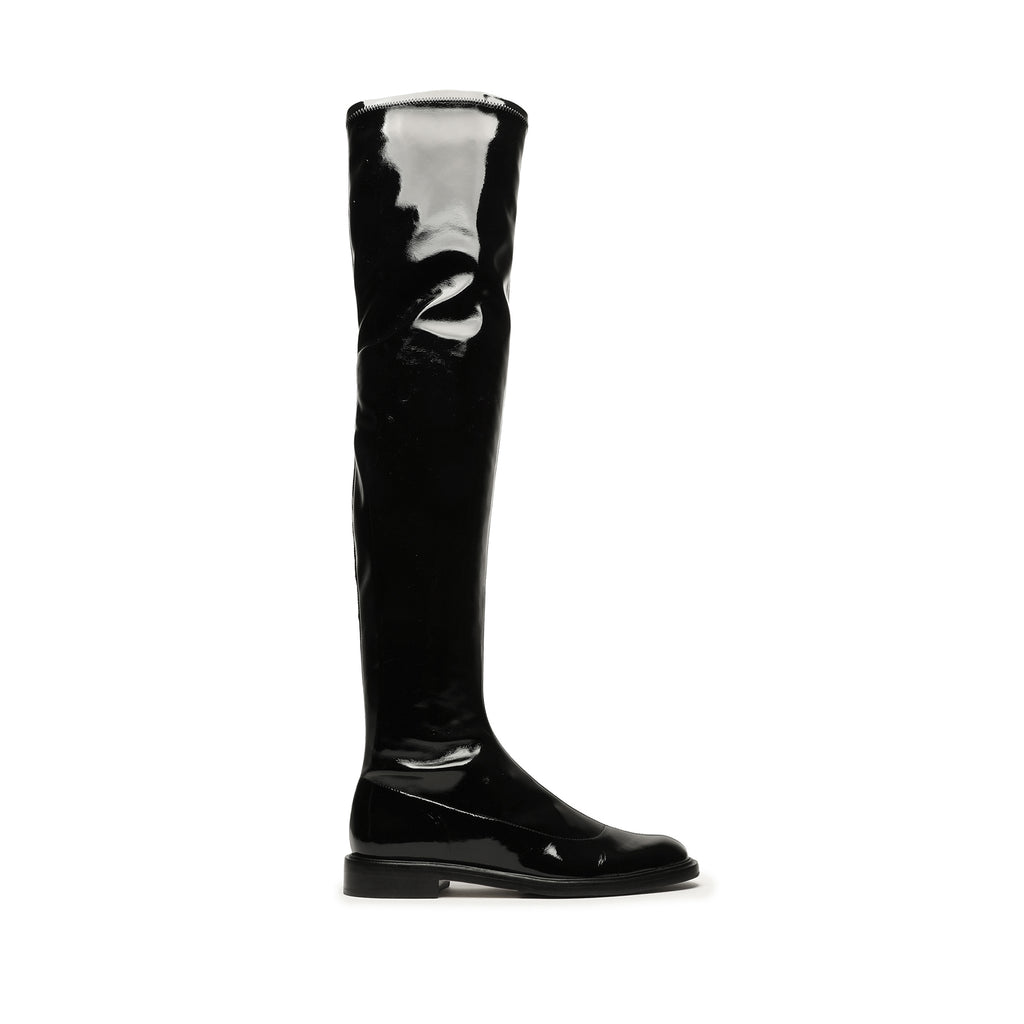 Kaolin Stretch Patent Leather Boot in Black