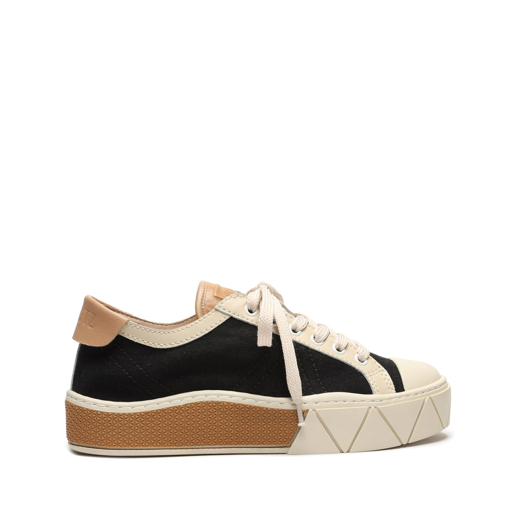 Gizella Canvas & Leather Sneaker in Black/Off White